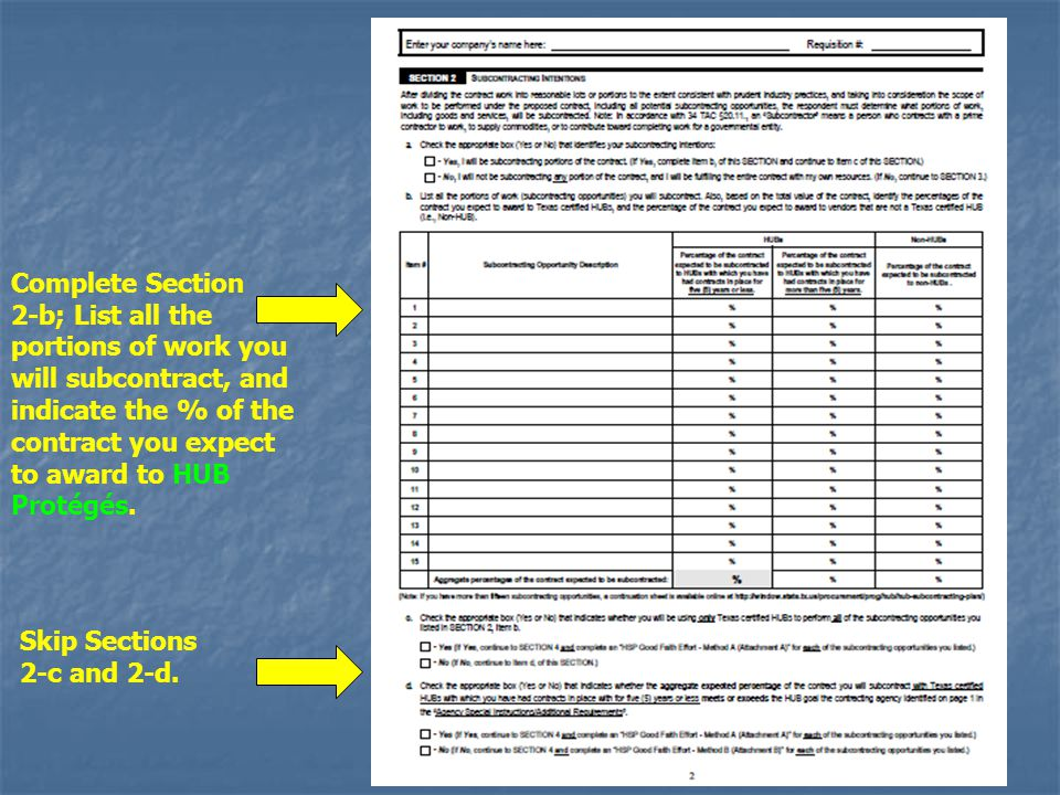 Complete Section 2-b; List all the portions of work you will subcontract, and indicate the % of the contract you expect to award to HUB Protégés.