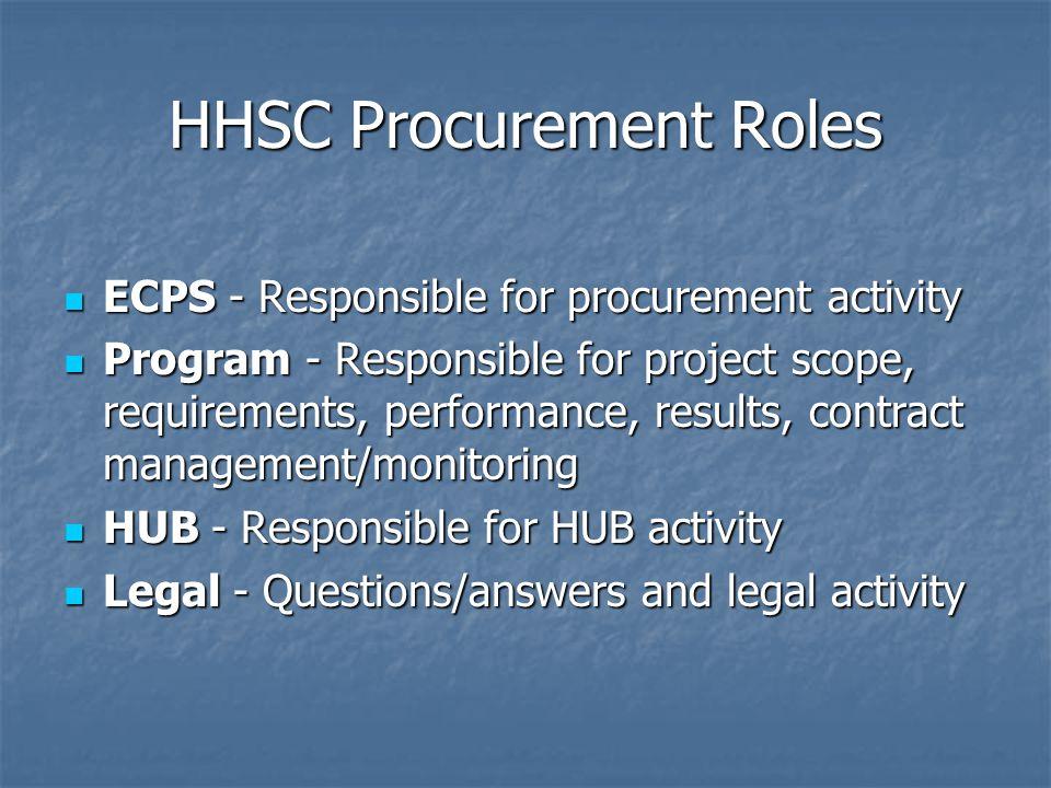 HHSC Procurement Roles