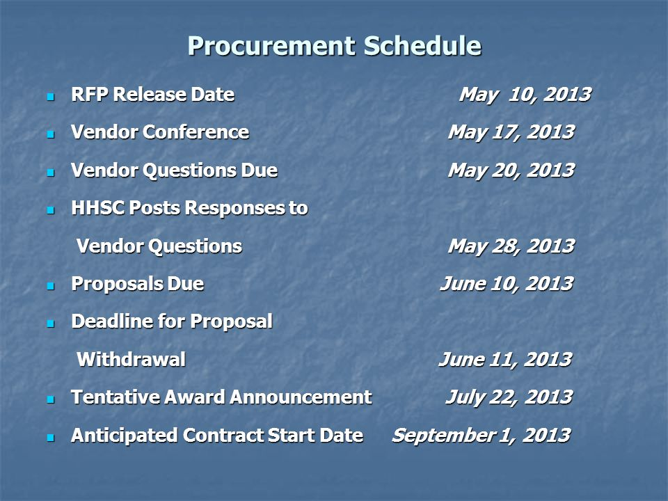 Procurement Schedule RFP Release Date May 10, 2013