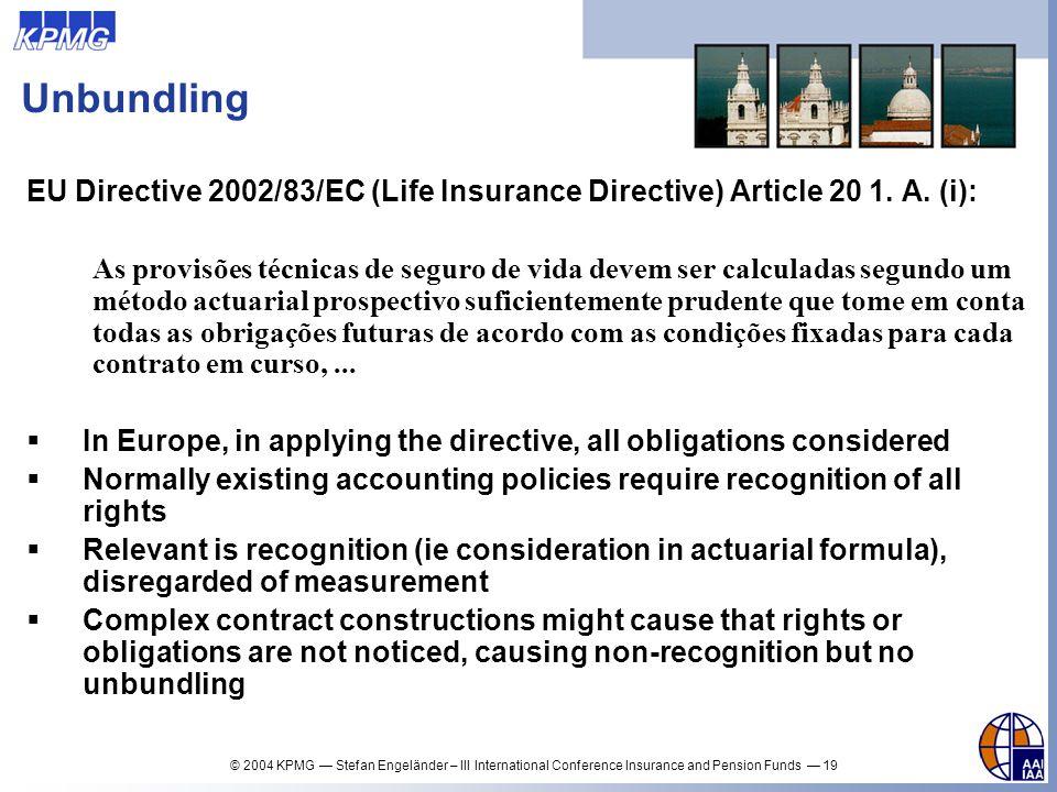 Unbundling EU Directive 2002/83/EC (Life Insurance Directive) Article 20 1. A. (i):