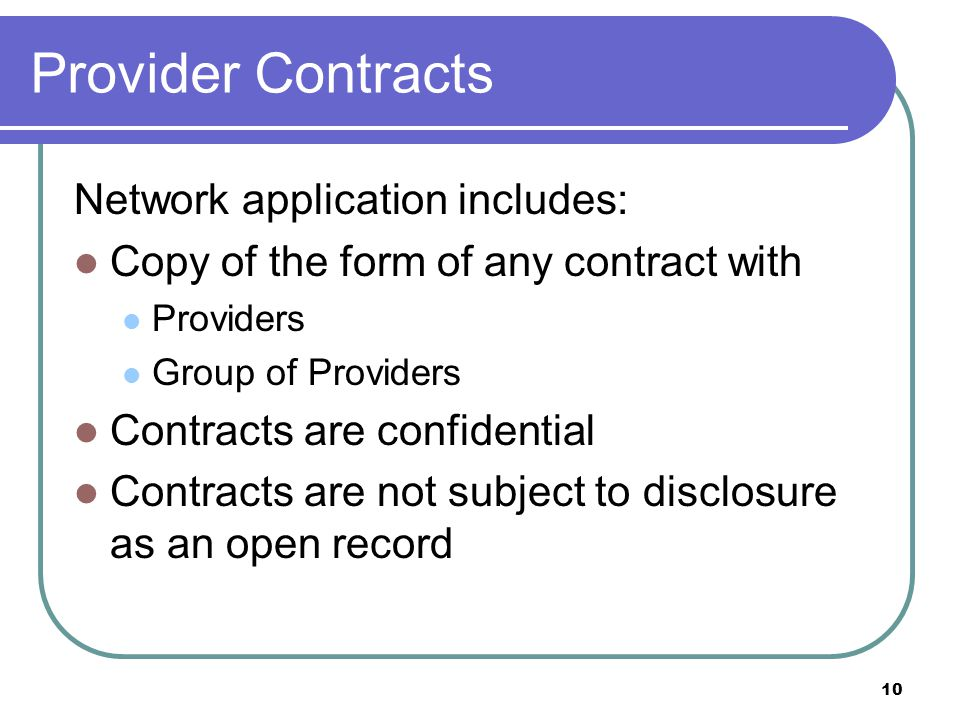 Provider Contracts Network application includes: