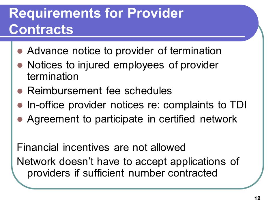 Requirements for Provider Contracts