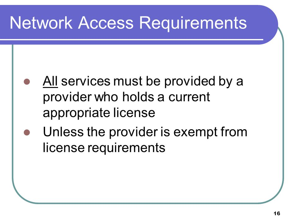 Network Access Requirements