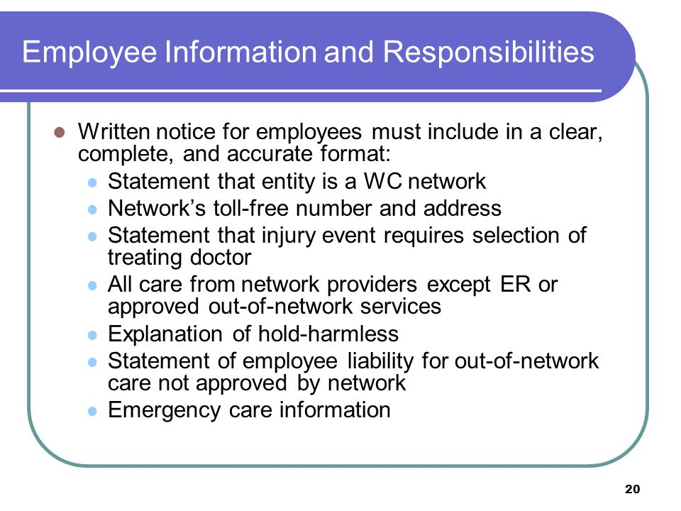 Employee Information and Responsibilities