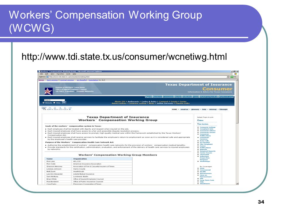 Workers' Compensation Working Group (WCWG)