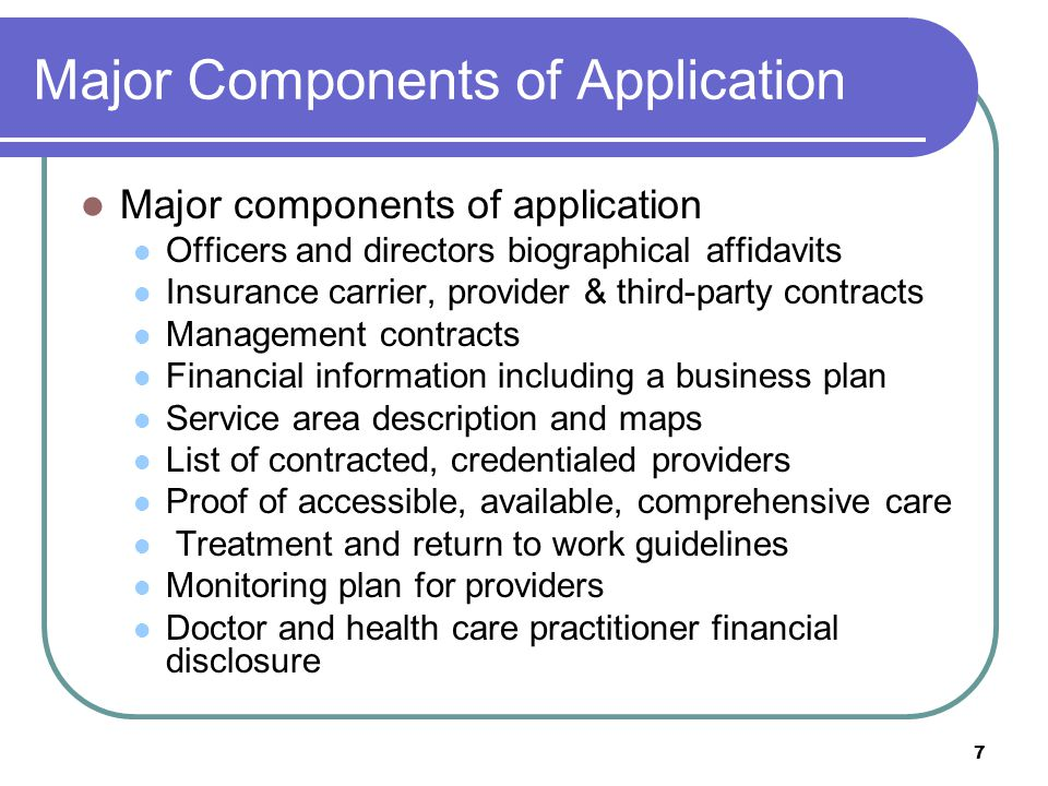 Major Components of Application