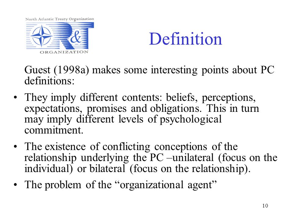 Definition Guest (1998a) makes some interesting points about PC definitions: