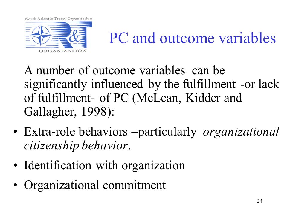PC and outcome variables