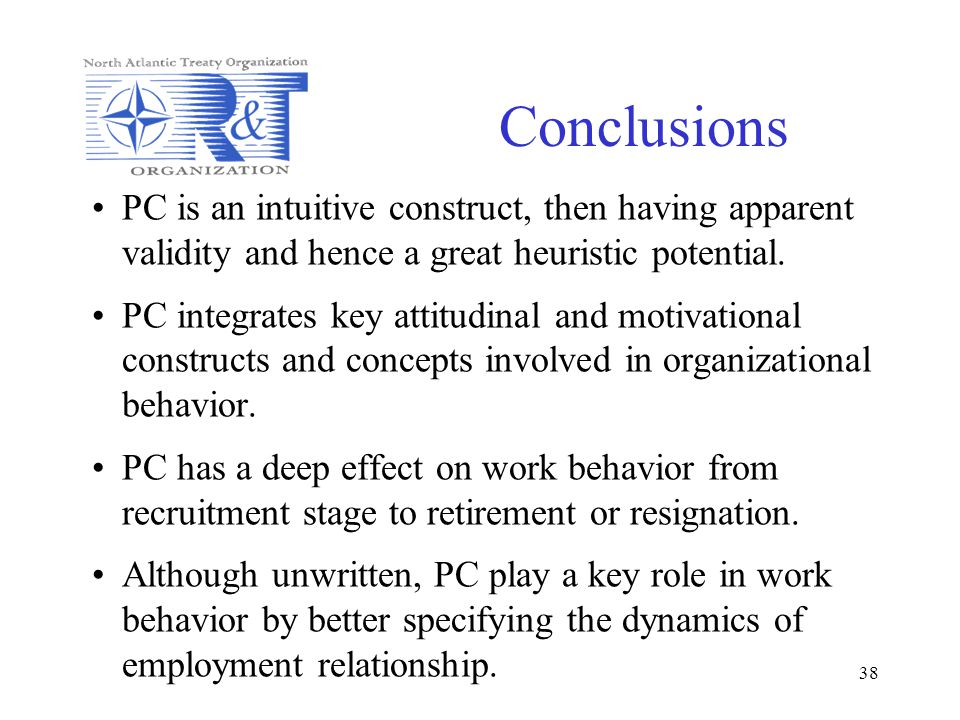 Conclusions PC is an intuitive construct, then having apparent validity and hence a great heuristic potential.