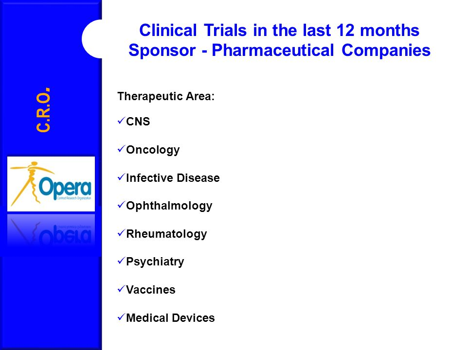 C.R.O. Clinical Trials in the last 12 months