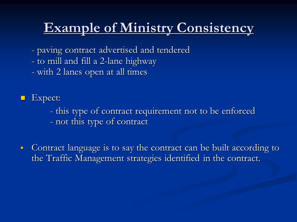 Example of Ministry Consistency
