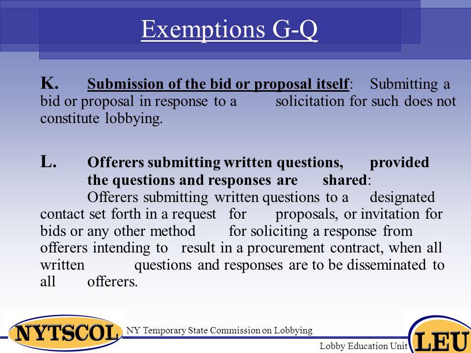 Exemptions G-Q