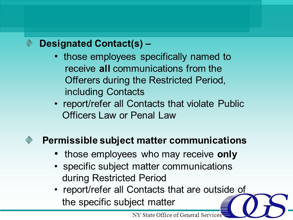 Designated Contact(s) –