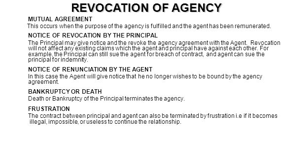 REVOCATION OF AGENCY MUTUAL AGREEMENT