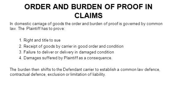 ORDER AND BURDEN OF PROOF IN CLAIMS