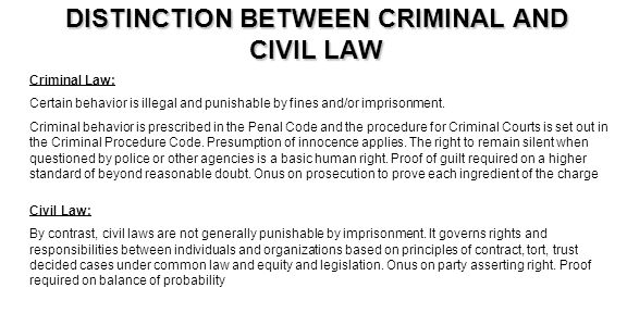 DISTINCTION BETWEEN CRIMINAL AND CIVIL LAW