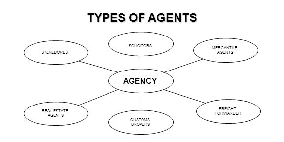TYPES OF AGENTS AGENCY SOLICITORS MERCANTILE STEVEDORES AGENTS FREIGHT