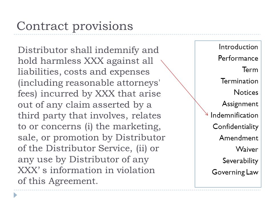 Contract provisions Introduction. Performance. Term. Termination. Notices. Assignment. Indemnification.