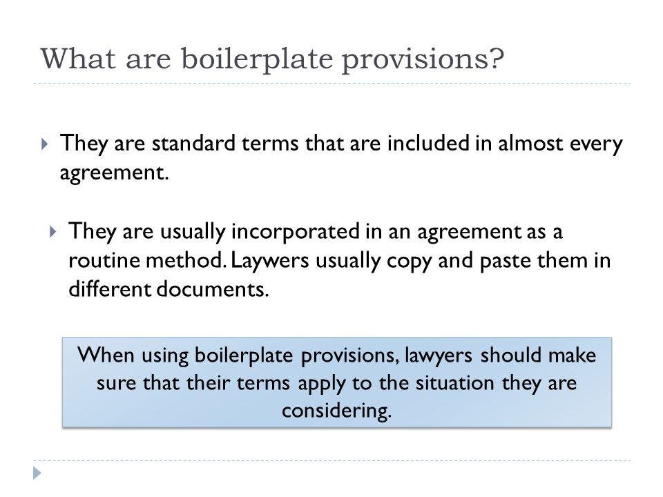 What are boilerplate provisions