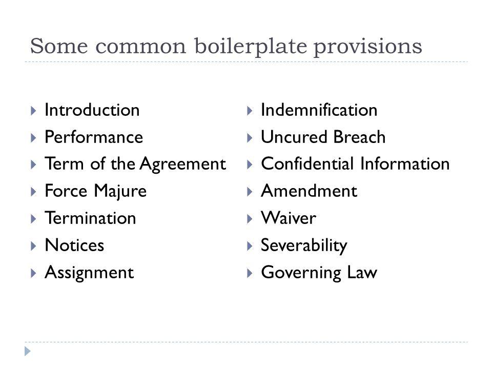 Some common boilerplate provisions