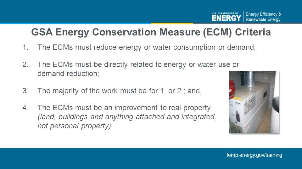 GSA Energy Conservation Measure (ECM) Criteria