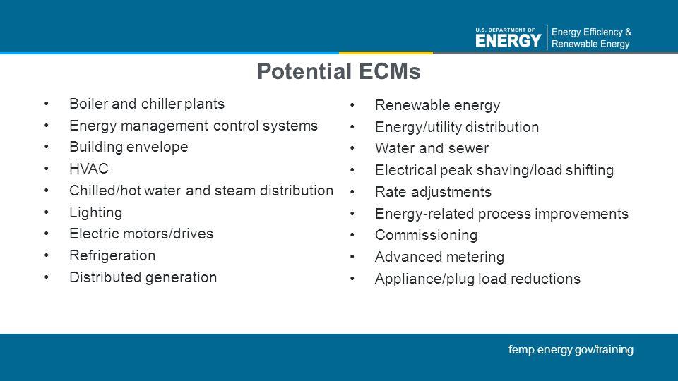 Potential ECMs Boiler and chiller plants Renewable energy