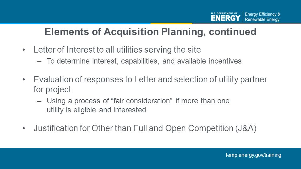 Elements of Acquisition Planning, continued