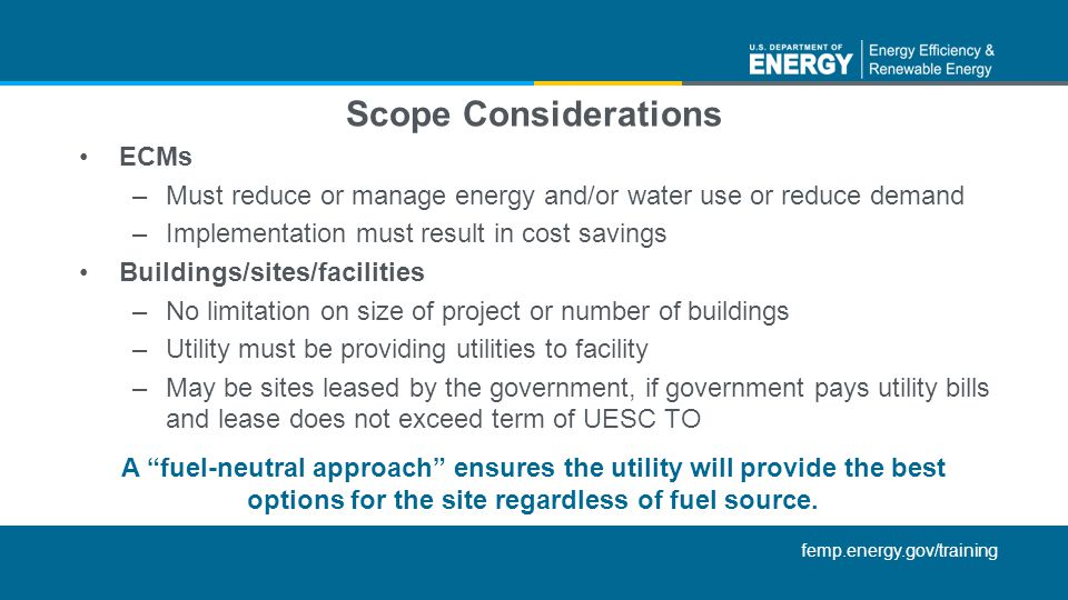 Scope Considerations ECMs