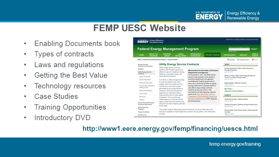 FEMP UESC Website Enabling Documents book Types of contracts