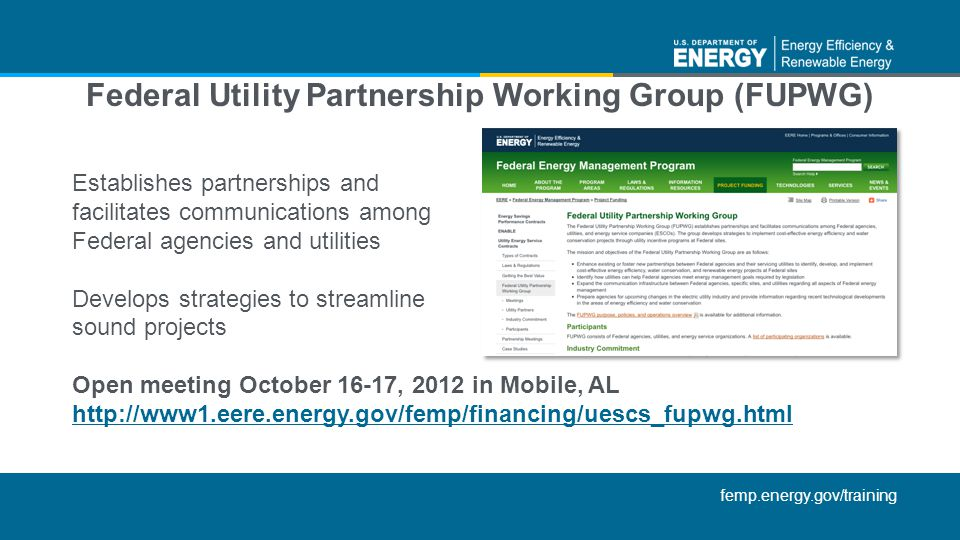 Federal Utility Partnership Working Group (FUPWG)
