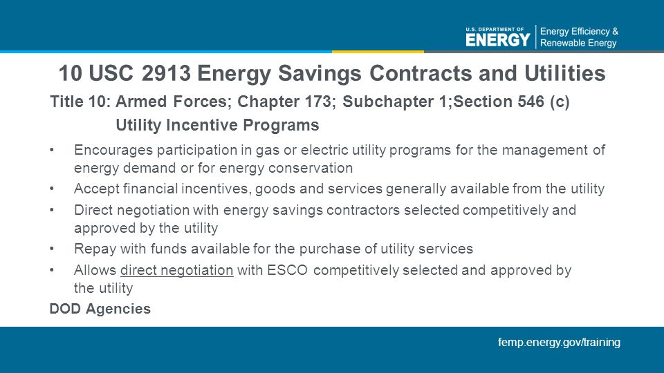 10 USC 2913 Energy Savings Contracts and Utilities