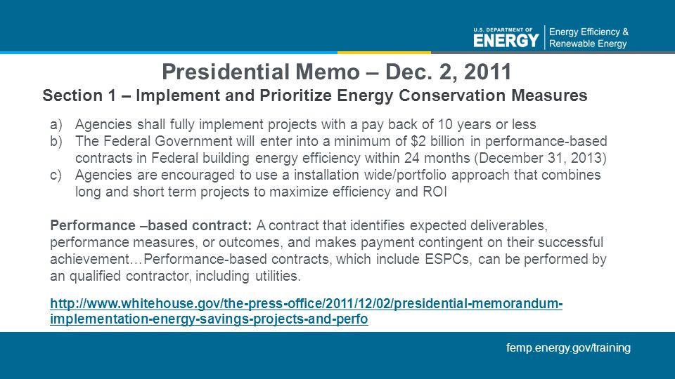 Presidential Memo – Dec. 2, 2011