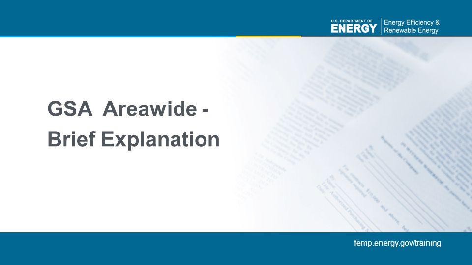 GSA Areawide - Brief Explanation
