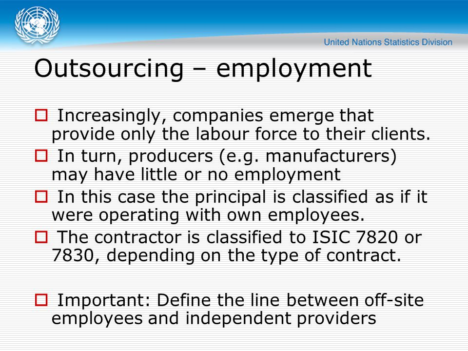 Outsourcing – employment