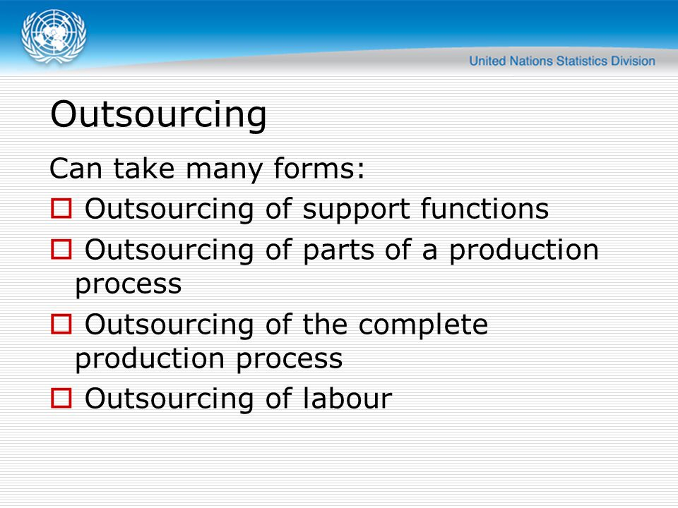 Outsourcing Can take many forms: Outsourcing of support functions