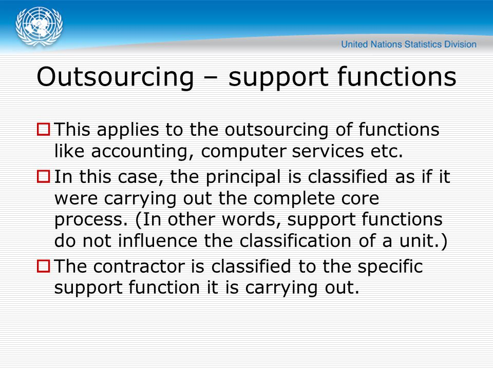 Outsourcing – support functions