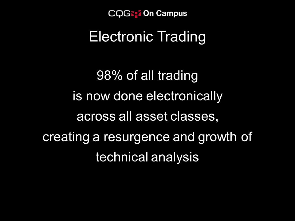 Electronic Trading 98% of all trading is now done electronically