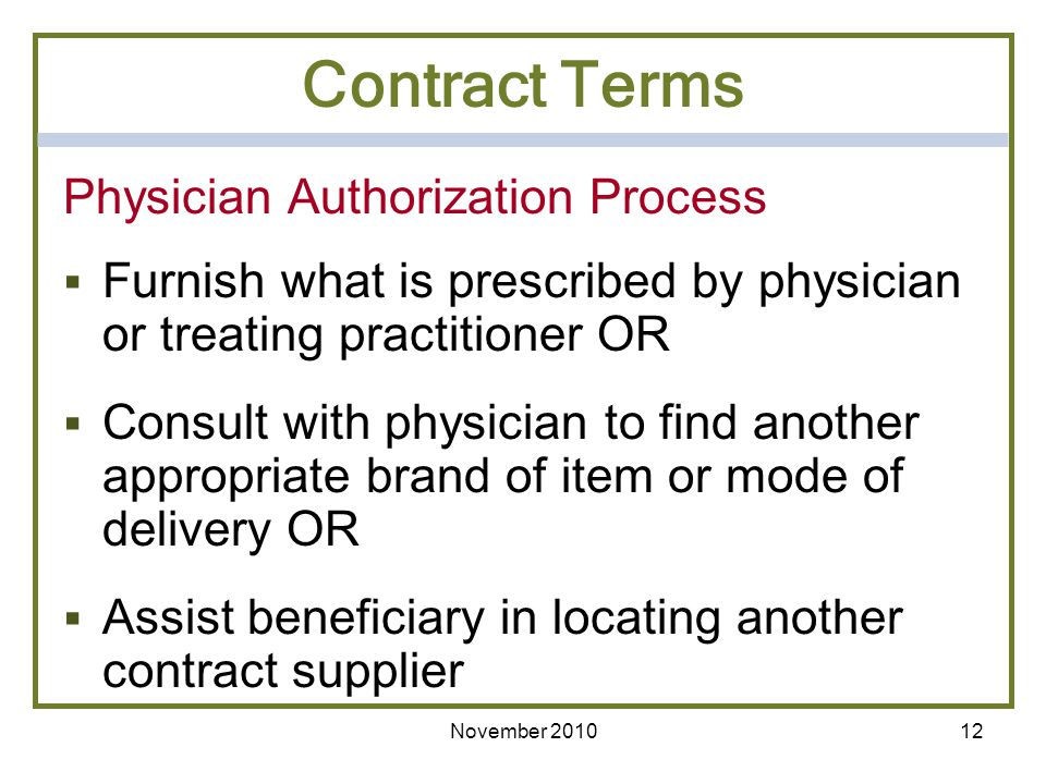 Contract Terms Physician Authorization Process