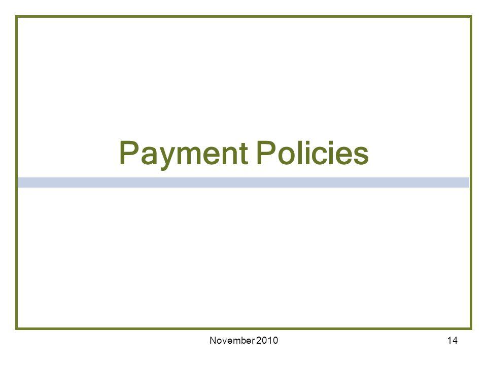 Payment Policies November 2010