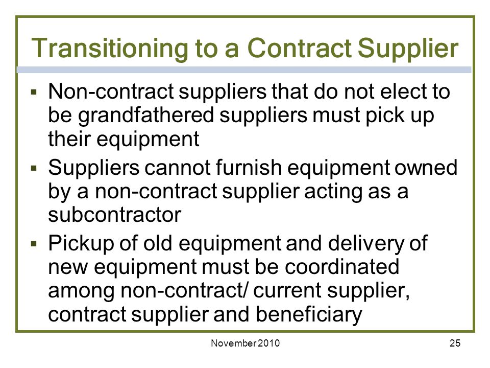 Transitioning to a Contract Supplier