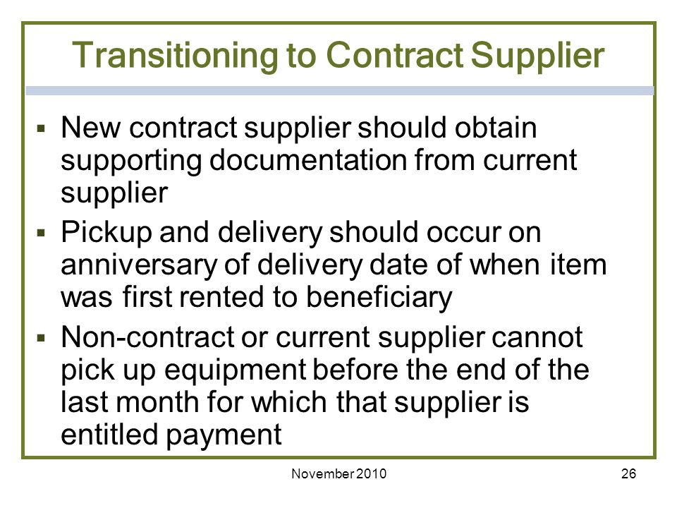 Transitioning to Contract Supplier