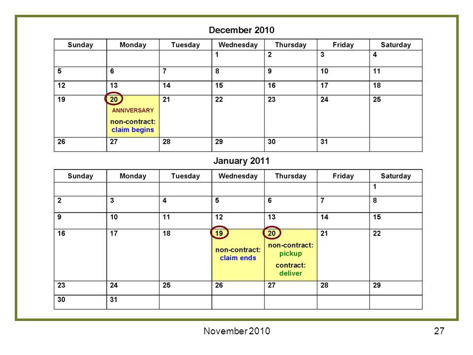 For example, if the last anniversary date of the rental of the equipment prior to the start of the program is December 20th, the non-contract supplier would submit a claim beginning December 20th and ending January 19th. The non-contract supplier would pick up the equipment on January 20th and the contract supplier would delivery new equipment on January 20th.