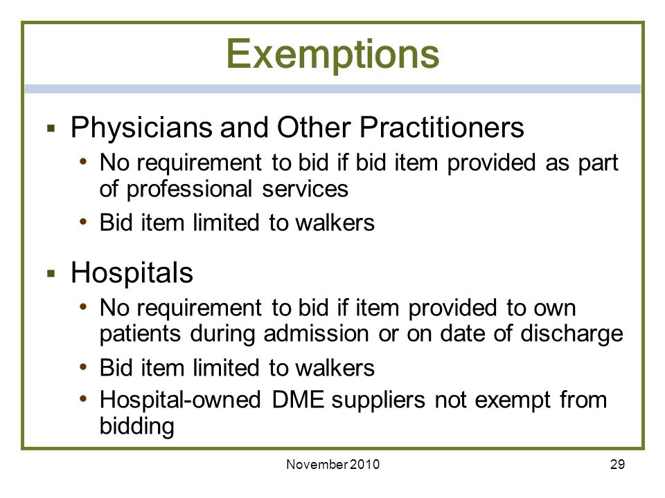 Exemptions Physicians and Other Practitioners Hospitals