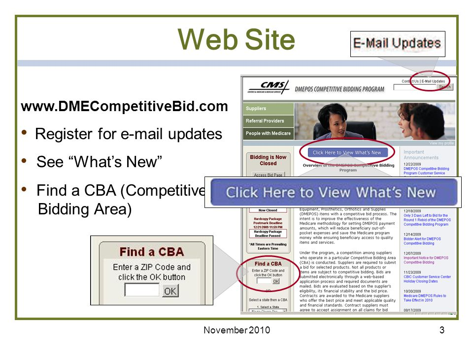 Web Site See What's New Find a CBA (Competitive Bidding Area)