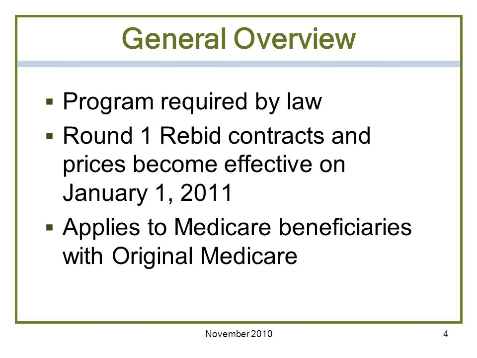 General Overview Program required by law