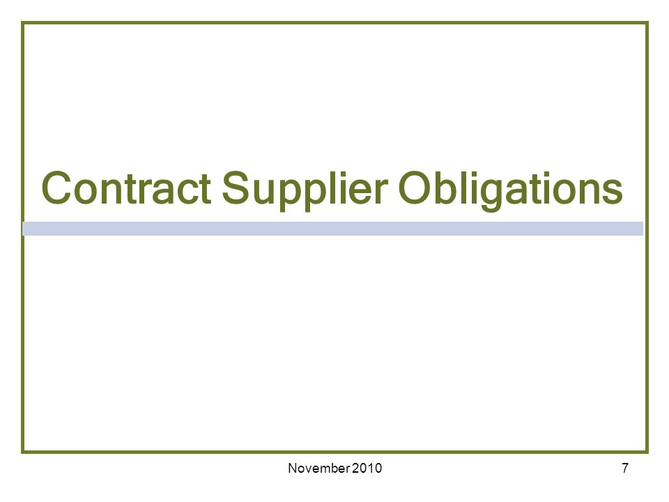 Contract Supplier Obligations