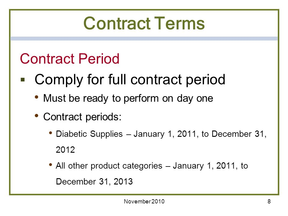 Contract Terms Contract Period Comply for full contract period