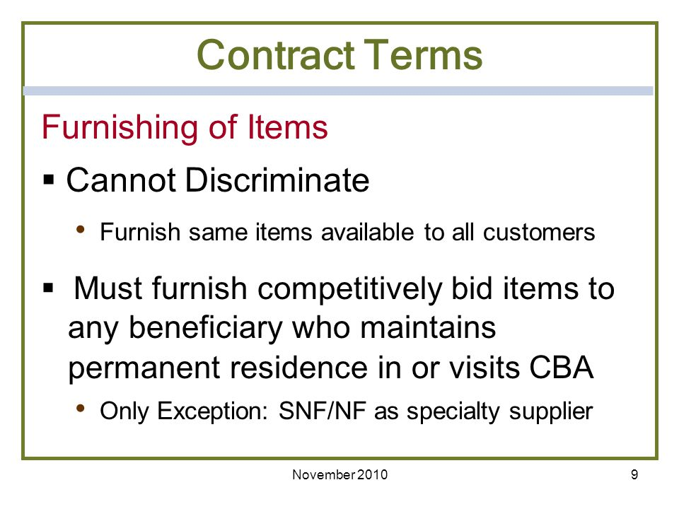 Contract Terms Furnishing of Items Cannot Discriminate