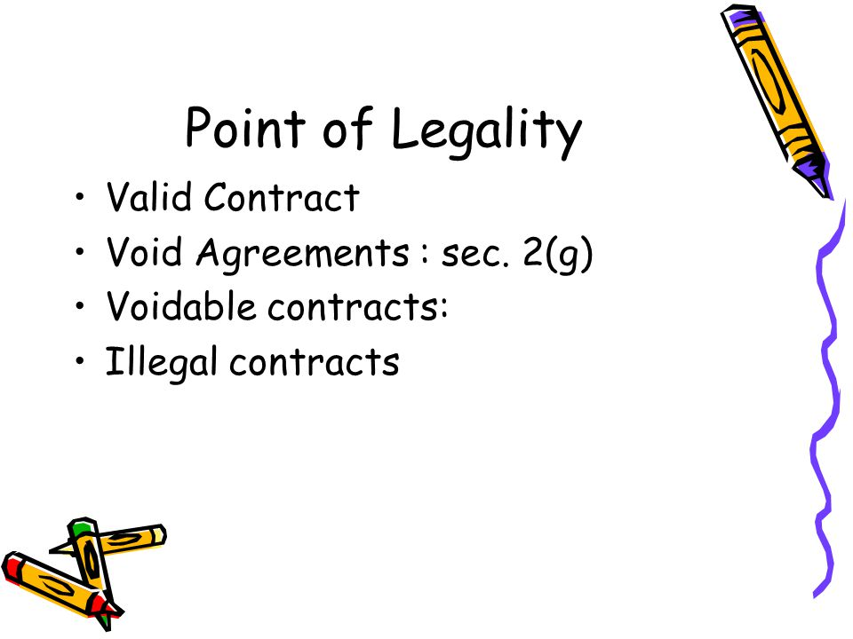Point of Legality Valid Contract Void Agreements : sec. 2(g)