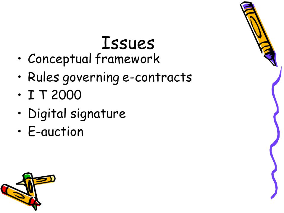 Issues Conceptual framework Rules governing e-contracts I T 2000